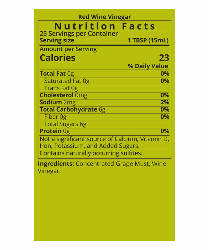 Red Wine Vinegar Nutrition Facts